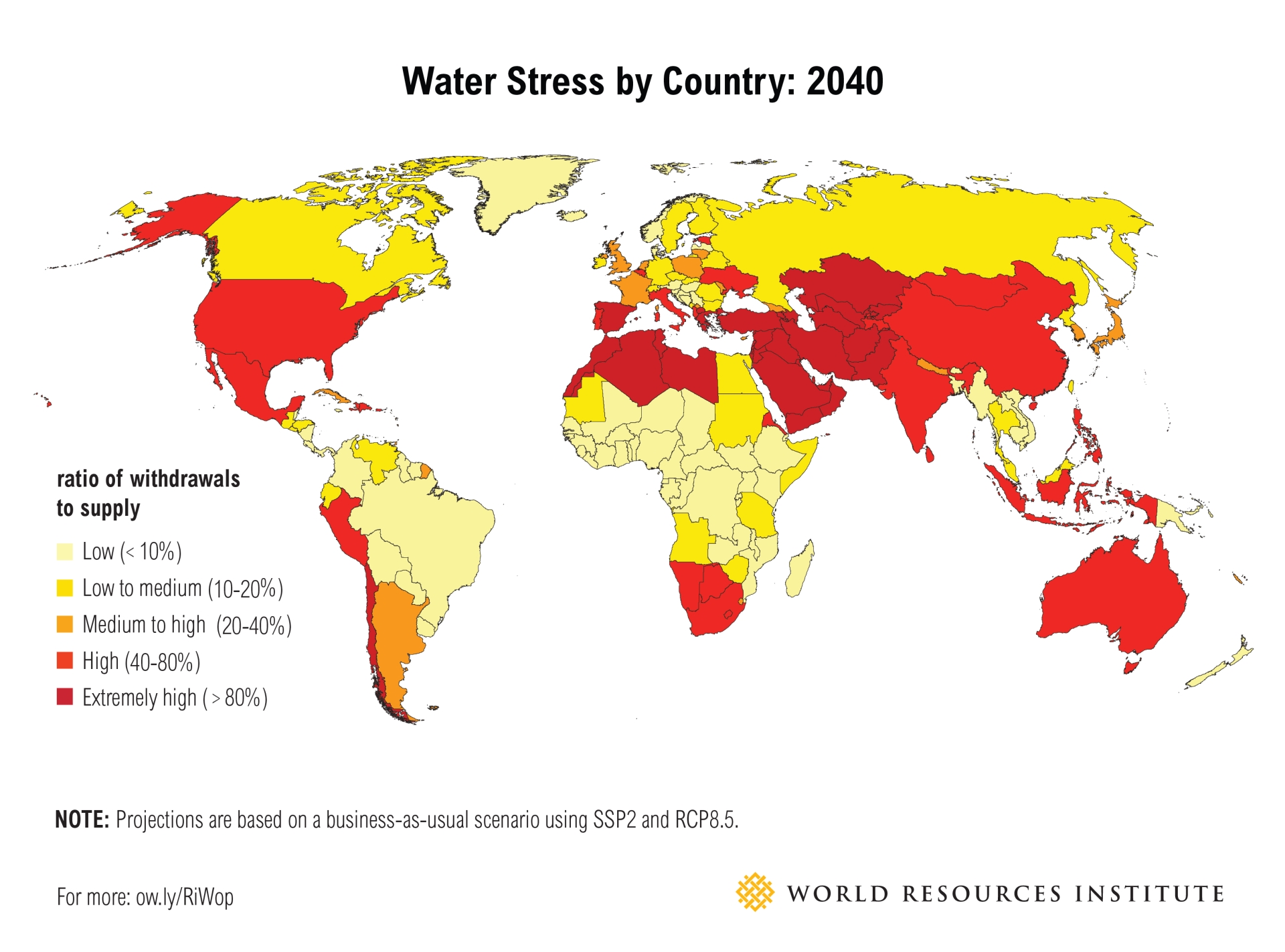 water stress world map 2040